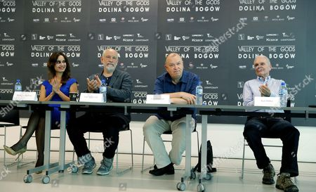 (l-r) French Actress Berenice Marlohe Us Actor John Malkovich Polish Director Lech Majewski and Us Actor Keir Dullea at a Press Conference on a Set of the Lech Majewski's New Fantasy-science Fiction Project 'Valley of the Gods' at the Silesia Museum in Katowice Poland 30 May 2016 John Malkovich Berenice Marlohe Keir Dullea Josh Hartnett and Charlotte Rampling Will Star in Lech Majewskis Film Which Will Be in Cinemas in 2017 Poland Katowice