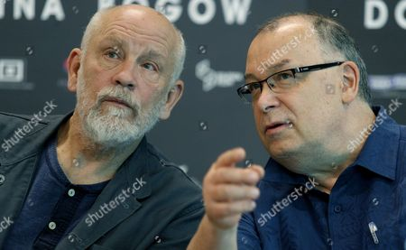 Stock Photo of Us Actor John Malkovich (l) and Polish Director Lech Majewski (r) at a Press Conference on a Set of the Lech Majewski's New Fantasy-science Fiction Project 'Valley of the Gods' at the Silesia Museum in Katowice Poland 30 May 2016 John Malkovich Berenice Marlohe Keir Dullea Josh Hartnett and Charlotte Rampling Will Star in Lech Majewskis Film Which Will Be in Cinemas in 2017 Poland Katowice