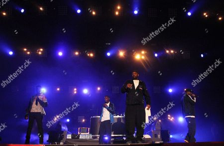 Rappers (l-r): Rza (robert Diggs) Gza (gary Grice) Ghostface Killah (dennis Coles) and Inspectah Deck (jason Hunter) of the Us Group Wu-tang Clan Perform During the Concert on a Closing Night of the Coke Live Music Festival in Cracow Poland 10 August 2013 Poland Cracow