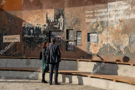 Visitors Attend the 'Courage and Reconciliation' Exhibition Presented on the Ocassion of the 25th Anniversary of the Mass of the Polish-german Reconciliation in Krzyzowa Poland 12 November 2014 on 12 November 1989 Polish Prime Minister Tadeusz Mazowiecki and German Chancellor Helmut Kohl Embrace Each Other During the Holy Mass Starting the Reconciliation Between the Two Nations After Post-war Difficult and Bitter Relations the Exhibition Organized by the Museum of Polish History Will Be Officially Opened by Polish Prime Minister Ewa Kopacz and German Chancellor Angela Merkel on 20 November 2014 Poland Krzyzowa
