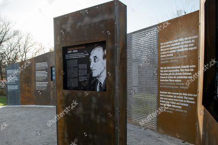 A View of an Informative Panel About the Former Polish Prime Minister Tadeusz Mazowiecki Displayed at the 'Courage and Reconciliation' Exhibition on the Ocassion of the 25th Anniversary of the Mass of the Polish-german Reconciliation in Krzyzowa Poland 12 November 2014 on 12 November 1989 Polish Prime Minister Tadeusz Mazowiecki and German Chancellor Helmut Kohl Embrace Each Other During the Holy Mass Starting the Reconciliation Between the Two Nations After Post-war Difficult and Bitter Relations the Exhibition Organized by the Museum of Polish History Will Be Officially Opened by Polish Prime Minister Ewa Kopacz and German Chancellor Angela Merkel on 20 November 2014 Poland Krzyzowa