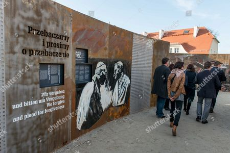 Visitors Attend the 'Courage and Reconciliation' Exhibition Presented on the Ocassion of the 25th Anniversary of the Mass of the Polish-german Reconciliation in Krzyzowa Poland 12 November 2014 on 12 November 1989 Polish Prime Minister Tadeusz Mazowiecki and German Chancellor Helmut Kohl Embrace Each Other During the Holy Mass Starting the Reconciliation Between the Two Nations After Post-war Difficult and Bitter Relations the Exhibition Organized by the Museum of Polish History Will Be Officially Opened by Polish Prime Minister Ewa Kopacz and German Chancellor Angela Merkel on 20 November Poland Krzyzowa