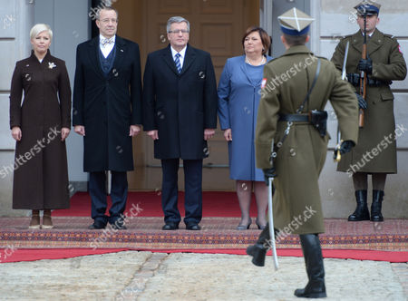 Stock Photo of President of Poland Bronislaw Komorowski (3-l) with His Wife Anna Komorowska (3-r) and Estonian President Toomas Hendrik Ilves (2-l) with His Wife Evelin Ilves (l) During a Meeting at the Presidential Palace in Warsaw Poland 18 March 2014 President Ilves with His Wife Started a Three-day Official Visit to Poland Us Vice President Joe Biden Also Arrived in Warsaw For Talks on Ukraine with the Leaders of Estonia Lithuania and Latvia Poland Warsaw