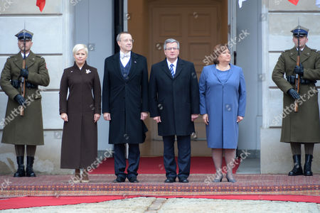 President of Poland Bronislaw Komorowski (3-r) with His Wife Anna Komorowska (2-r) and Estonian President Toomas Hendrik Ilves (3-l) with His Wife Evelin Ilves (2-l) During a Meeting at the Presidential Palace in Warsaw Poland 18 March 2014 President Ilves with His Wife Started a Three-day Official Visit to Poland Us Vice President Joe Biden Also Arrived in Warsaw For Talks on Ukraine with the Leaders of Estonia Lithuania and Latvia Poland Warsaw