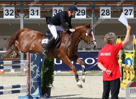 Nicholas Woodbridge of Britain Competes in the Riding Discipline of the Men's Competition During the Modern Pentathlon European Championships in Drzonkow Poland 16 July 2013 Poland Drzonkow