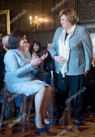 Polish First Lady Anna Komorowska (r) and Moldovan First Lady Margareta Timofti (l) Attend For the Ceremony of Signing an Agreement on Cooperation Between the Polish Mother Memorial Hospital Research Institute in Lodz and Institute of Mother and Child in Chisinau in Lodz Poland 23 April 2015 Poland Lodz