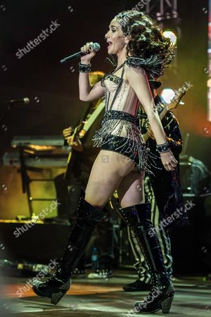 Uruguayan Actress and Singer Natalia Oreiro Performs on Stage During a Concert in Wroclaw Poland 14 December 2013 Poland Wroclaw
