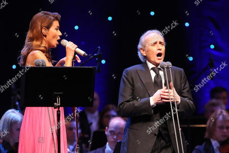 Stock Picture of Polish Singer Edyta Gorniak (l) and Spanish Tenor Jose Carreras (p) Perform During a Joint Concert in the Ergo Arena Hall in Gdansk Poland 22 April 2012 Poland Gdansk