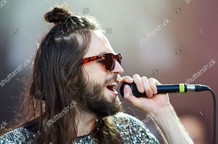 Lead Vocals Sebastian Pringle with British/spanish Alternative Dance Band Crystal Fighters Performs on Stage at the Heineken Open'er Festival in Gdynia Poland 06 July 2013 the 12th Edition of the Festival Runs From 03 to 06 July Poland Gdynia