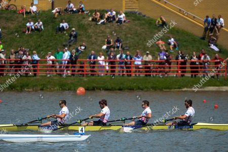 Stock Photo of Winners Nathaniel Reilly-odonnell Alan Sinclair Tom Ransley Scott Durant of Great Britain in Action During the Mens Coxless Four Final Race at the European Rowing Championshps 2015 in Poznan Poland 31 May 2015 Poland Poznan