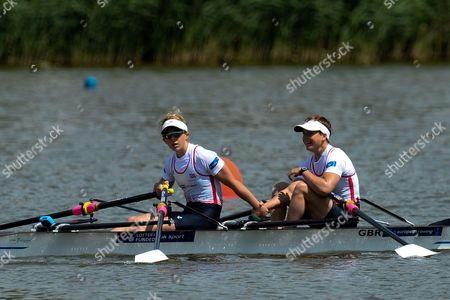 Winners Charlotte Taylor and Katherine Copeland of Great Britain Celebrates After Winning the Lightweight Womens Double Sculls Final Race at the European Rowing Championshps 2015 in Poznan Poland 31 May 2015 Poland Poznan