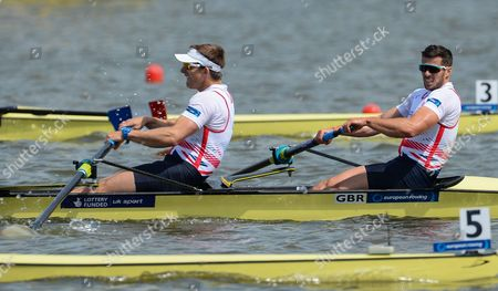 Stock Image of Winners James Foad of Matt Langridge of Great Britain in Action During the Mens Coxless Pairs Final Race at the European Rowing Championshps 2015 in Poznan Poland 31 May 2015 Poland Poznan