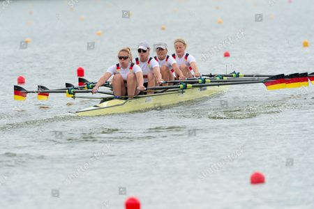 Annekatrin Thiele Marie-catherine Arnold Carina Baer and Lisa Schmidla of Germany in Action During the Womens Coxless Four Qualification Heat at the European Rowing Championshps 2015 in Poznan Poland 29 May 2015 Poland Poznan