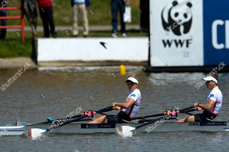 Winners Charlotte Taylor and Katherine Copeland of Great Britain in Action During the Lightweight Womens Double Sculls Final Race at the European Rowing Championshps 2015 in Poznan Poland 31 May 2015 Poland Poznan