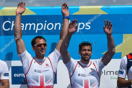Stock Photo of Winners James Foad of Matt Langridge of Great Britain Celebrate on the Podium After the Mens Coxless Pairs Final Race at the European Rowing Championshps 2015 in Poznan Poland 31 May 2015 Poland Poznan