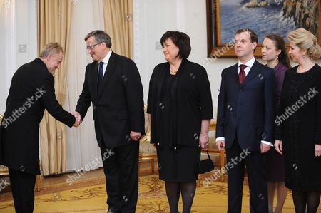 (l-r) Polish Actor Daniel Olbrychski Polish President Bronislaw Komorowski with His Wife Anna Komorowska and President of the Russian Federation Dmitry Medvedev with His Wife Svetlana Medvedeva During the Official Dinner at the Presidential Palace in Warsaw Poland 6 December 2010 President Medvedev is with an Official Two-day Visit in Poland Poland Warsaw