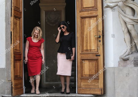 Polish Prime Minister Tusk Spouse Malgorzata Tusk (l) Meets with Saudi Arabia Princess Ameera Bint Aidan Bin Nayef Al-taweel (r) at the Royal Lazienki Museum in Warsaw Poland 13 June 2013 Princess Ameera Al-taweel in on a Two-day Visit to Poland Poland Warsaw
