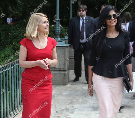 Polish Prime Minister Tusk Spouse Malgorzata Tusk (l) and Saudi Arabia Princess Ameera Bint Aidan Bin Nayef Al-taweel (r) During a Stroll at the Royal Lazienki Museum Gardens in Warsaw Poland 13 June 2013 Princess Ameera Al-taweel in on a Two-day Visit to Poland Poland Warsaw