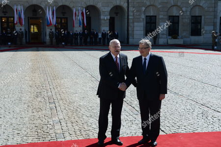 President of Poland Bronislaw Komorowski (r) Shake Hands with Slovak President Ivan Gasparovic (l) During an Official Welcome Ceremony at the Presidential Palace in Warsaw Poland 20 May 2014 President Gasparovic Started a Two-day Official Visit to Poland Which is a Farewell Before Ending His Second Term in Office Poland Warsaw