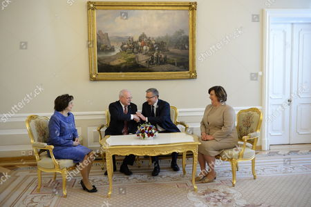 President of Poland Bronislaw Komorowski (2-r) with His Wife Anna Komorowska () and Slovak President Ivan Gasparovic (2-l) with His Wife Silvia Gasparovic (l) at a Meeting at the Presidential Palace in Warsaw Poland 20 May 2014 President Gasparovic Started a Two-day Official Visit to Poland Which is a Farewell Before Ending His Second Term in Office Poland Warsaw
