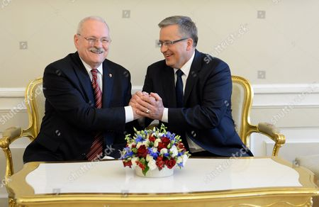 President of Poland Bronislaw Komorowski (r) Shake Hands with Slovak President Ivan Gasparovic (l) at a Meeting at the Presidential Palace in Warsaw Poland 20 May 2014 President Gasparovic Started a Two-day Official Visit to Poland Which is a Farewell Before Ending His Second Term in Office Poland Warsaw