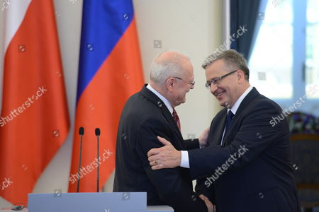 President of Poland Bronislaw Komorowski (r) Shake Hands with Slovak President Ivan Gasparovic (l) at a Press Conference After a Meeting at the Presidential Palace in Warsaw Poland 20 May 2014 President Gasparovic Started a Two-day Official Visit to Poland Which is a Farewell Before Ending His Second Term in Office Poland Warsaw