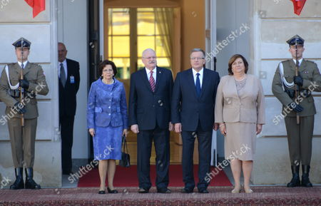 President of Poland Bronislaw Komorowski (3-r) with His Wife Anna Komorowska (2-r) and Slovak President Ivan Gasparovic (3-l) with His Wife Silvia Gasparovic (2-l) During an Official Welcome Ceremony at the Presidential Palace in Warsaw Poland 20 May 2014 President Gasparovic Started a Two-day Official Visit to Poland Which is a Farewell Before Ending His Second Term in Office Poland Warsaw