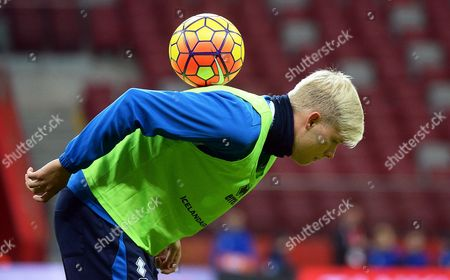 Iceland's National Soccer Team Player Ari Freyr Skulason Performs During His Team's Training Session in Warsaw Poland 12 November 2015 Iceland Will Face Poland in an International Friendly Soccer Match at the National Stadium in Warsaw on 13 November 2015 Poland Warsaw