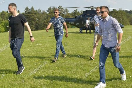 Polish Players (l-r) Jakub Wawrzyniak Thiago Cionek Pawel Dawidowicz and Slawomir Peszko Arrive by Helicopter to the Mountain Resort in Arlamow Southeast Poland 23 May 2016 the Polish Team Will Start a Week-long Training Camp in the Bieszczady Mountains Before the Start of the Upcoming Uefa Euro 2016 Soccer Championship in France Poland Arlamow