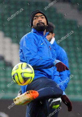 Trabzonspor's Jose Bosingwa Performs During His Team's Training Session in Warsaw Poland 10 December 2014 Trabzonspor Will Face Legia Warsaw in the Uefa Europa League Group L Soccer Match in Warsaw on 11 December 2014 Poland Warsaw