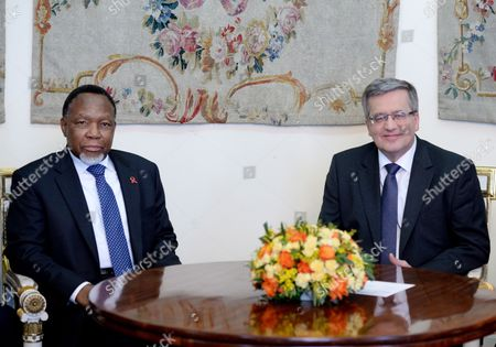 President of Poland Bronislaw Komorowski (r) and Deputy President of the Republic of South Africa Kgalema Motlanthe (l) During a Meeting in Warsaw Poland 14 March 2014 Deputy President Motlanthe is an Official Visit to Poland Poland Warsaw