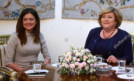 The Wife of the President of Poland Anna Komorowska (r) Met at the Belvedere in Warsaw with Miriam Shaded (l) President of the Foundation Esther Requesting the Bringing About 1 500 Persecuted Christians in Syria to Poland in Warsaw Poland 22 May 2015 Poland Warsaw