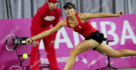 Belgian Yanina Wickmayer Returns the Ball to Poland's Marta Domachowska During the First-round World Group Ii Match of the Fed Cup in Bydgoszcz Poland 06 February 2010 Poland Bydgoszcz