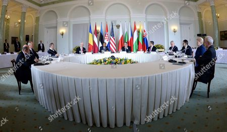 Presidents Traian Basescu of Romania (l-r) Andris Berzins of Latvia Toomas Hendrik Ilves of Estonia Ivo Josipovic of Croatia Us President Barack Obama Bronislaw Komorowski of Poland Rosen Plevneliev of Bulgaria Milos Zeman of the Czech Republic Janos Ader of Hungary Dalia Grybauskaite of Lithuania and Ivan Gasparovic of Slovakia During a Meeting at the Presidential Palace in Warsaw Poland 03 June 2014 the Meeting is Held on Ukrainian Crisis Security in the Region Including Energy Security As Well As Preparations For the Nato Summit in September in Wales the Us President and Other Leaders of Central and Eastern Europe Will Take Part in the Celebrations of the 25th Anniversary of the First Partly Free Elections in Poland After World War Ii Poland Warsaw