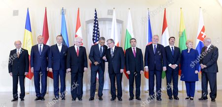 (l-r) Presidents Traian Basescu of Romania Andris Berzins of Latvia Toomas Hendrik Ilves of Estonia Ivo Josipovic of Croatia Barack Obama of United States of America Bronislaw Komorowski of Poland Rosen Plewnelijew of Bulgaria Milos Zeman of the Czech Republic Janos Ader of Hungary Dalia Grybauskaite of Lithuania and Ivan Gasparovic of Slovakia Pose For a Family Photo After a Meeting at the Presidential Palace in Warsaw Poland 03 June 2014 the Meeting was Held on Ukrainian Crisis Security in the Region Including Energy Security As Well As Preparations For the Nato Summit in September in Wales the Us President and Other Leaders of Central and Eastern Europe Will Take Part in the Celebrations of the 25th Anniversary of the First Partly Free Elections in Poland After World War Ii Poland Warsaw
