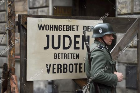A View of a Sign Reading 'Jewish Housing Area Access Prohibited' on the Set of Us-polish Documentary Film 'Who Will Write Our History?' in Lodz Poland 16 May 2016 the Film of Us Award-winning Filmmaker Roberta Grossman Tells the Story About the Hidden Oyneg Shabes Archive and Its Creator Emanuel Ringelblum the Archive is 30 Thousand Documents Letters Confessionals Last Testaments Poems and Questionnaires From the Warsaw Ghetto During the Nazi Occupation in Poland During the World War Ii the Film is Executive-produced by Nancy Spielberg and Has Received Support From the Righteous Persons Foundation Poland Lodz