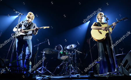 Stock Image of Band Gypsyfingers - Songwriter Victoria Coghlan (r) and Songwriter/producer Luke Oldfield (l) (son of Tubular Bells' Mike Oldfield) Performs in Warsaw Poland 03 October 2014 Poland Warsaw