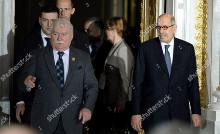 Nobel Peace Prize Laureates Former President of Poland Lech Walesa (l) and Former Director-general of the International Atomic Energy Agency (iaea) Mohamed Elbaradei (r) Attend the Warsaw Solidarity Forum at the Royal Castle in Warsaw Poland 16 May 2014 the Forum 25 Years After the Historic Transition That Brought Freedom to Poland and 10 Years After Poland Joined the Eu is Focused on the Lesson That Can Be Drawn From the Polish Transformation For the Region and the World Poland Warsaw