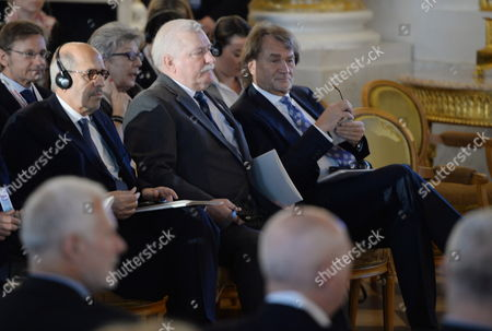 Nobel Peace Prize Laureates Former President of Poland Lech Walesa (c) and Former Director-general of the International Atomic Energy Agency (iaea) Mohamed Elbaradei (l) and Polish Entrepreneur Jan Kulczyk (r) Attend the Warsaw Solidarity Forum at the Royal Castle in Warsaw Poland 16 May 2014 the Forum 25 Years After the Historic Transition That Brought Freedom to Poland and 10 Years After Poland Joined the Eu is Focused on the Lesson That Can Be Drawn From the Polish Transformation For the Region and the World Poland Warsaw