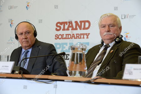 Former Polish President Lech Walesa (r) and Former South African President Frederik Willem De Klerk (l) Attend a News Conference in Warsaw Poland 20 October 2013 on the Eve of the 13th World Summit of Nobel Peace Laureates the Summit of Nobel Peace Laureates is to Be Held in Warsaw From 21 to 23 October Under the Theme 'Solidarity For Peace - the Time to Act' Poland Warsaw