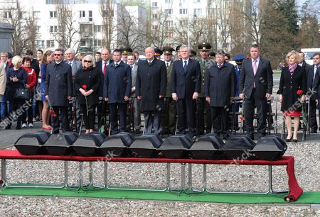 Russian Ambassador to Poland Alexander Alekseev (4th R) and Mazovian Deputy Voivode Dariusz Piatek (3th R) During the Burial Ceremony of the Remains of 29 Soviet Army Soldiers who Died in the Tank Battle of Radzymin in 1944 in the Cemetery Mausoleum of Soldiers of Russian Army in Warsaw Poland 24 April 2013 the Remains Were Found in a Forest on the Outskirts of the Village Krubki - Gorki and Exhumed in December 2012 Poland Warsaw