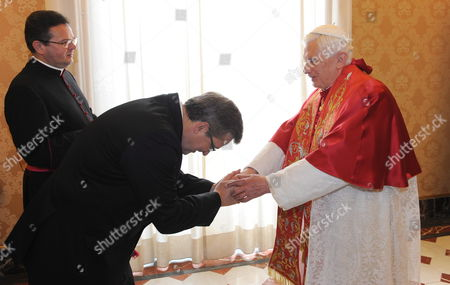 Stock Picture of Pope Benedict Xvi (r) Receives Polish President Bronislaw Komorowski (l) For a Meeting at the Vatican 16 October 2010 on 16 October 1978 Polish Cardinal Karol Jozef Wojtyla Started His Reign As Pope John Paul Ii Vatican City State (holy See) Vatican City