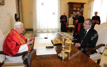 Stock Photo of Pope Benedict Xvi (l) Receives Polish President Bronislaw Komorowski (r) For a Meeting at the Vatican 16 October 2010 on 16 October 1978 Polish Cardinal Karol Jozef Wojtyla Started His Reign As Pope John Paul Ii Vatican City State (holy See) Vatican City
