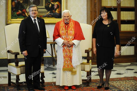 Pope Benedict Xvi (c) Receives Polish President Bronislaw Komorowski (l) and His Wife Anna For a Meeting at the Vatican 16 October 2010 on 16 October 1978 Polish Cardinal Karol Jozef Wojtyla Started His Reign As Pope John Paul Ii Vatican City State (holy See) Vatican City