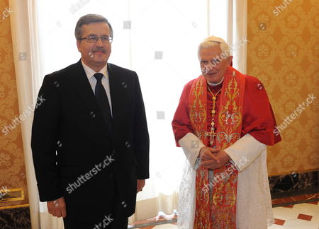 Stock Image of Pope Benedict Xvi (r) Receives Polish President Bronislaw Komorowski (l) For a Meeting at the Vatican 16 October 2010 on 16 October 1978 Polish Cardinal Karol Jozef Wojtyla Started His Reign As Pope John Paul Ii Vatican City State (holy See) Vatican City