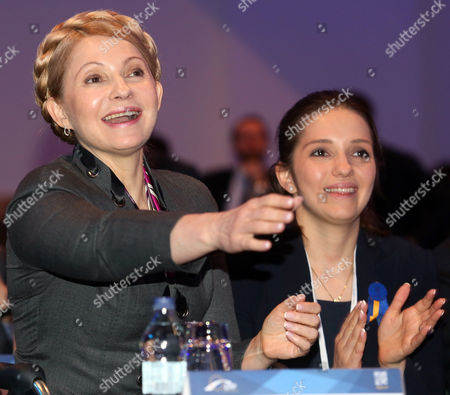 Stock Photo of Ukrainian Opposition Politician Former Prime Minister Yulia Tymoshenko (l) with Her Daughter Yevhenia Tymoshenko (r) at the European People's Party Congress in Dublin Ireland 07 March 2014 the Xxii Congress of the European People's Party (epp) Takes Place in Dublin Ireland on 06 and 07 March 2014 Ireland Dublin