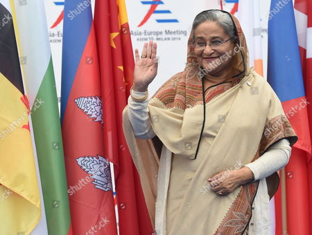 Bangladesh's Prime Minister Sheikh Hasina Wajed Arrives to Attend the Second Day of the 10th Asem Summit in Milan Italy 17 October 2014 the 10th Asem (asia-europe) Summit Brings Together 53 Countries - Representing More Than Half the World's Gross Domestic Product and Over 60 Per Cent of the Global Population the Event Has Been Held Every Other Year Since 1996 Italy Milan