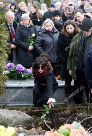 French Actress Sophie Marceau (c) Attends the Funeral of Her Former Partner Polish Filmmaker and Writer Andrzej Zulawski in Gora Kalwaria Near Warsaw Poland 22 February 2016 Zulawski Died of Cancer on 17 February 2016 He was 75 Poland Gora Kalwaria