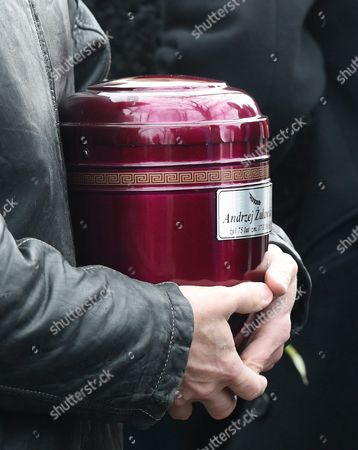 A Person Holds the Urn with the Ashes of Late Polish Filmmaker and Writer Andrzej Zulawski During His Funeral in Gora Kalwaria Near Warsaw Poland 22 February 2016 Zulawski Has Died of Cancer on 17 February 2016 He was 75 Poland Gora Kalwaria
