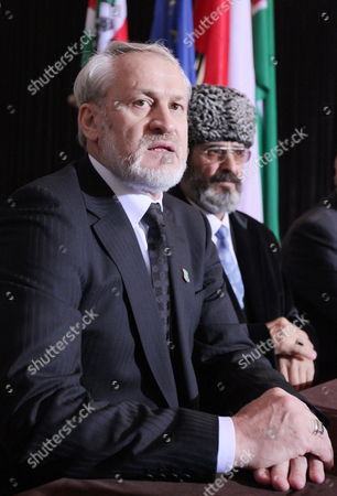 The Head of the Chechen Government in Exile Ahmed Zakayev (l) and Aslambek Kekharsaev (r) Representative of Chechen Government in Poland During a Press Conference After of the World Congress of the Chechen Nation in Pultusk North of Warsaw on 18 September 2010 a Polish Court Ordered Exiled Chechen Leader Akhmed Zakayev Freed Late on 17 September While Russia's Demand For His Extradition is Decided the Warsaw District Court Rejected a Request by Prosecutors to Place Zakayev Under Temporary Arrest For 40 Days He Had Been Arrested Earlier on 17 September by Polish Police on an International Warrant Issued by Russia Through Interpol Zakayev Arrived on 16 September in Poland to Attend a Two-day World Chechen Congress in Pultusk in Central Poland Poland Pultusk